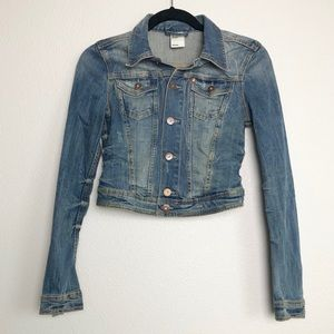 H&M Cropped Distressed Denim Jean Jacket